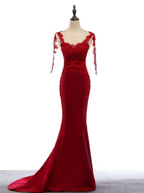 chic trumpetmermaid scoop red satin applique modest long
