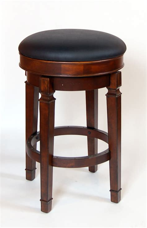 leather backless counter stools pair of walnut heavy strong bar height backless swivel 6884