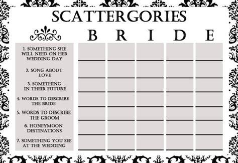 Bridal Shower Game: Scattergories Simran's Space