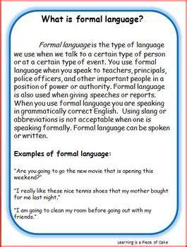 understanding formal  informal language  learning