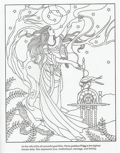 Viking Coloring Frigg Goddess Adult Coloriage Norse