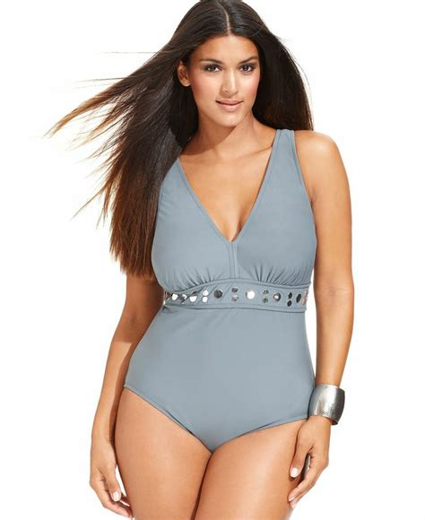 macy gray swimsuit inc international concepts plus size studded one piece