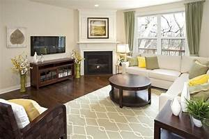 Corner fireplace furniture placement in living room with for Position of furniture in living room