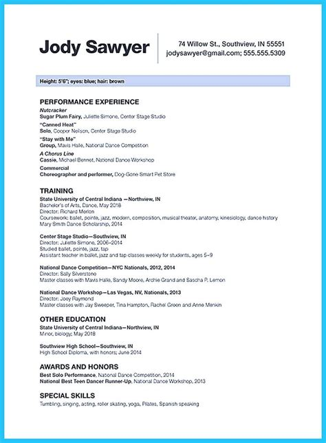 Dancer Resume by The Best And Impressive Resume Exles