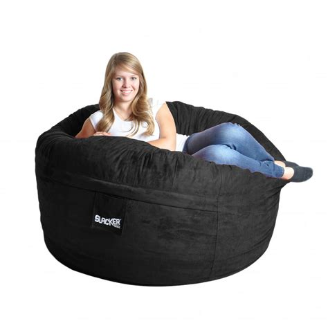 lovesac covers cheap black microfiber and foam bean bag chair 5 ebay