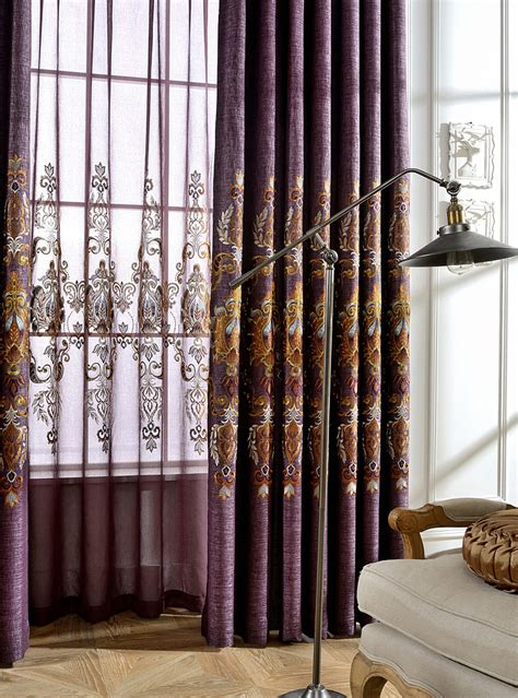vintage curtains and drapes purple damask embroidery linen vintage curtains and drapes