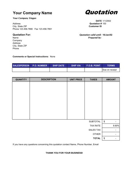 Contract Quotation Template by Price Quotation Format Template Sle Form Biztree