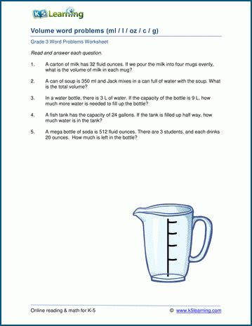 grade 3 volume and capacity word problems k5 learning
