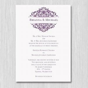 printable wedding invitation template quotgracequot plum purple With wedding invitation format doc
