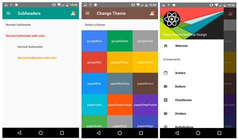 react native components  implement material design