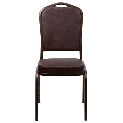 Hercules Stacking Banquet Chairs by Hercules Series Crown Back Stacking Brown Vinyl Banquet