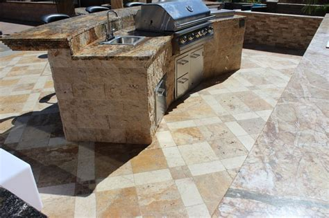 tuscany beige travertine outdoor kitchen traditional