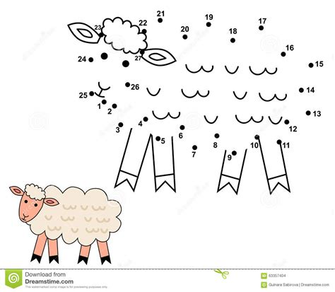 connect  dots  draw  cute sheep stock vector