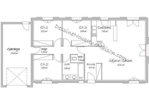 plan de maison plein pied gratuit 3 chambres plans de maisons individuelles de plain pied