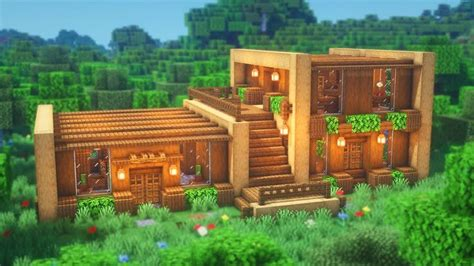 minecraft   build  wooden house simple survival house tutorial youtube cute