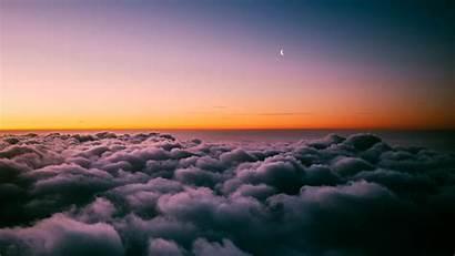Clouds 4k Above Sunset Horizon Sky Moon