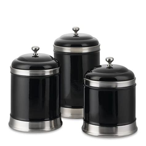 black ceramic canister sets kitchen williams ceramic canisters set of 3 black home deco in