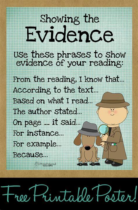 Free Printable Text Evidence