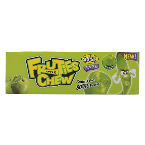 The gum comes in two flavors: Jojo Fruties Apple Flavour Chewing Gum 18 gr Pack of 24   Wholesale   Tradeling