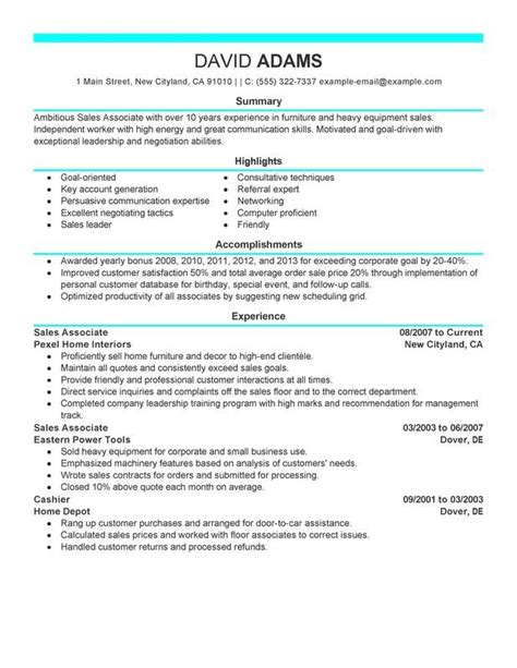 Sale Associate Resume by Resume For Sales Associate No Experience