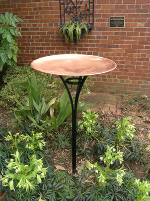 elegant copper birdbath  copper bowl   steel stand garden artisans llc