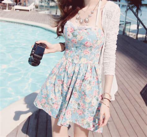 Dress kawaii floral summer dress ulzzang kfashion ...