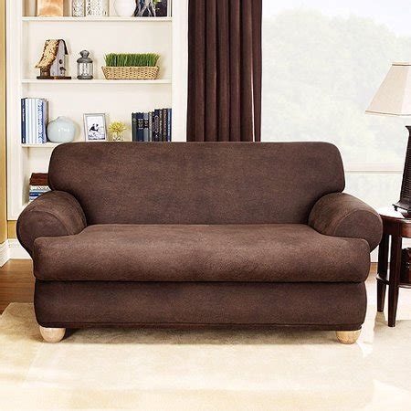 T Cushion Loveseat by Sure Fit Stretch Leather 2 T Cushion Loveseat