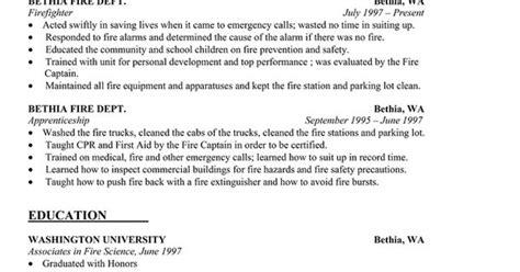 resume sle firefighter resume template http