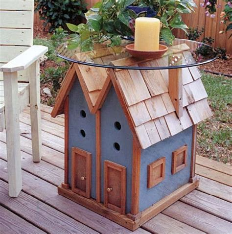 birdhouse table outdoor wood plans