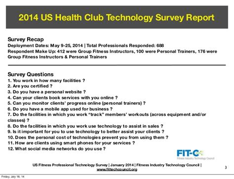 sample questionnaire template fitc 2014 fitness professional technology survey report