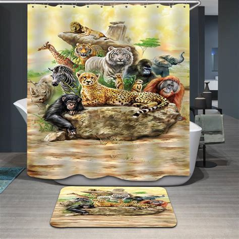polyester shower curtain  animal print jungle tiger