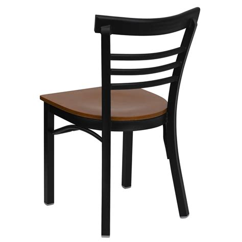 hercules modern black ladder back metal restaurant chair