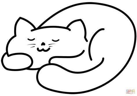 sleeping cat coloring page  printable coloring pages