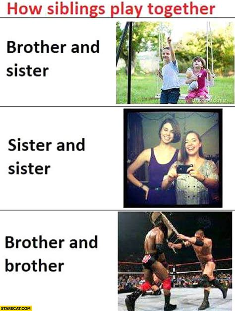 Brother And Sister Memes - how siblings play together brother and sister sister and sister brother and brother starecat com