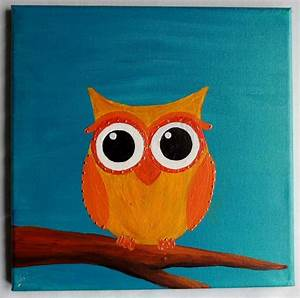 12x12 acrylic painting of a cute owl. Made using by ...