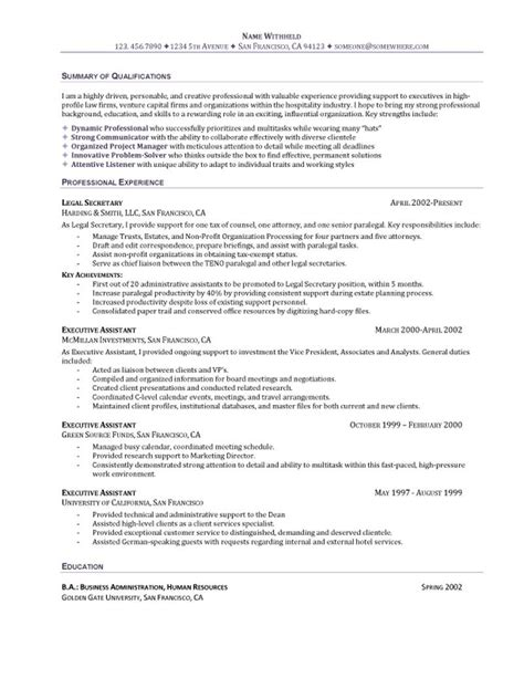 General Resume Objective For Administrative Assistant by Executive Assistant Resume
