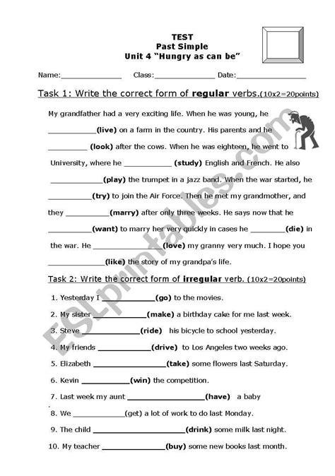simple test regularirregular verbs esl worksheet db