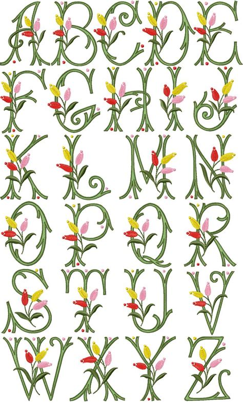 tulip kisses font embroidery fonts machine embroidery designs embroidery alphabet
