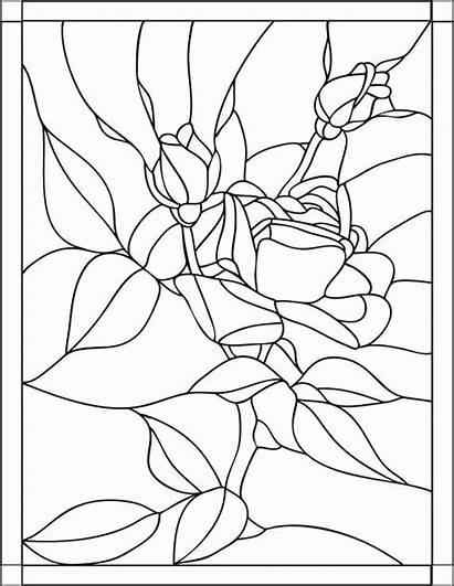 Coloring Pages Stained Glass Adult Printable Rose
