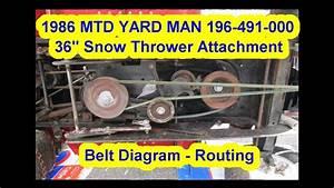 1986 Mtd Yard Man 196-491-000 36 U0026quot  Snowblower Attachment Belt Diagram