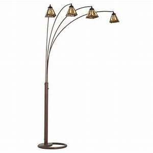 four arm bronze mission tiffany glass arc floor lamp With 4 arm chandelier floor lamp