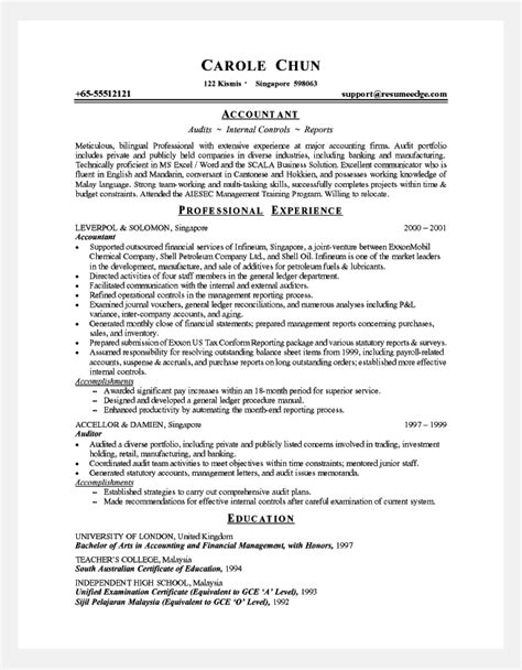 resume for an accountant professional resume cover letter sample professional