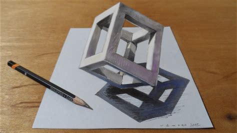 How To Draw A 3d Boat On Paper by How To Draw 3d Cube Drawing 3d Cube Standing Cube At
