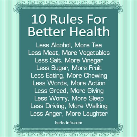 10 Simple Rules For Better Health  Herbs Info