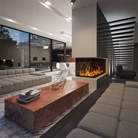 living room with fireplace in the middle black white designed by studio o organic design