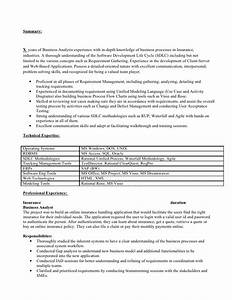 business analyst resume for insurance industry With insurance business analyst resume sample