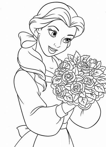 Coloring Princess Pages Disney Belle Adult Printable