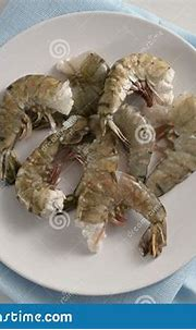 Raw Black Tiger Prawn Shrimps Without Head, Fresh Cooking ...