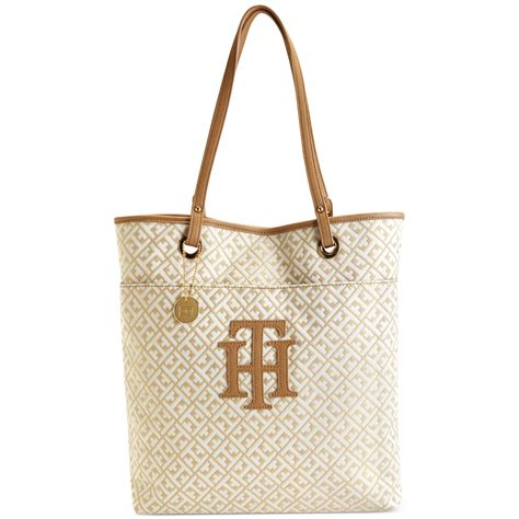 tommy hilfiger logo patch signature jacquard north south tote  beige gold metallic lyst