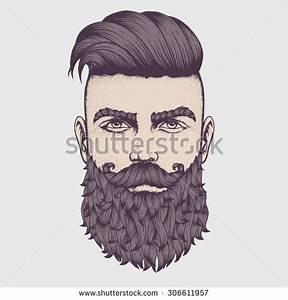 Hand Drawn Portrait Bearded Man Full Stock Vector ...
